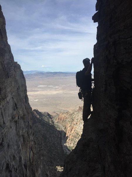 Following the second traverse on western hardman