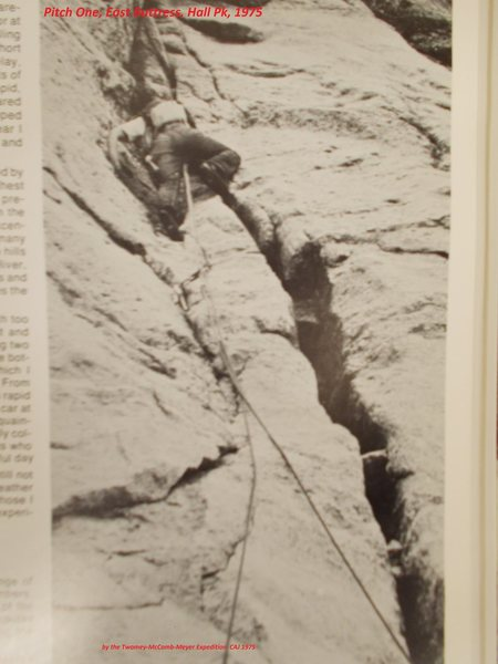 first ascent of pitch one of Hall Peak's East Buttress, CAJ 1975