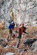 Rock Climbing Photo: Climbers at the base of Balcony Jr