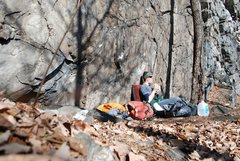 Rock Climbing Photo: Chowing on a sandwich on a midwinter day at the ba...
