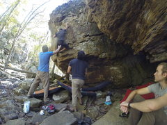 Rock Climbing Photo: Michael Richichi with a fun but unnecessary kneeba...