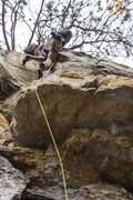 Rock Climbing Photo: Ryan Webster resting in the lower knee-bar of Musc...