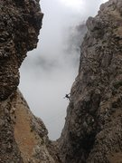Rock Climbing Photo: High on the route on another rainy day in 2014