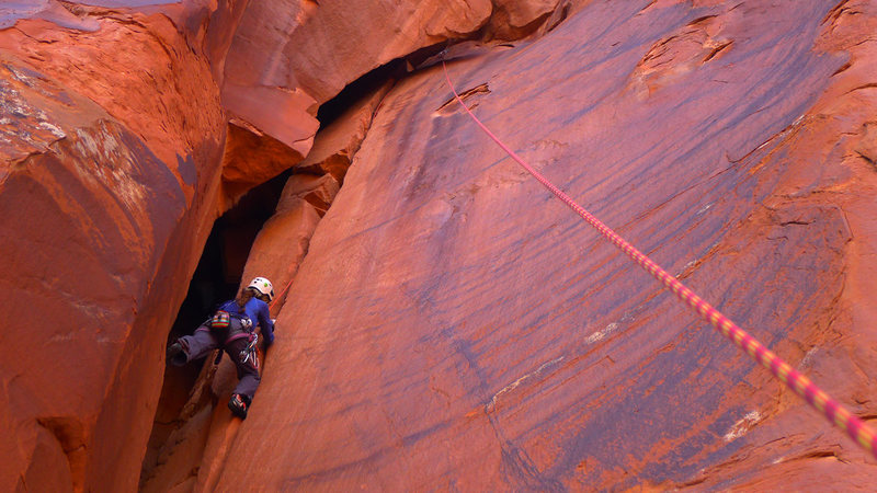 Rock Climbing Photo: Committing to the crack.