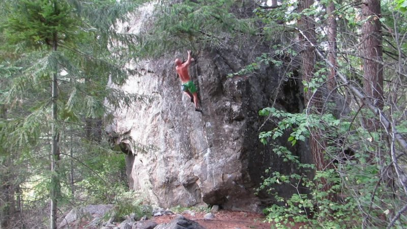 Rock Climbing Photo: Past the technical crux but still paying attention...