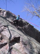 Rock Climbing Photo: Climber at the crux of Blade Runner.
