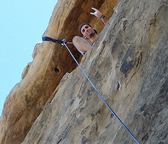 Los Angeles Basin - Stoney Point - Mozart's Wall - Matt in the cave, zoomed in