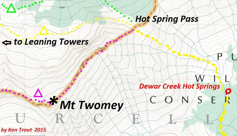 Mount Twomey East Ridge Approach<br> purple camp symbol is hypothetical
