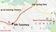 Rock Climbing Photo: Mount Twomey East Ridge Approach purple camp symbo...