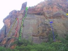 Rock Climbing Photo: The Whiskey Wall, L->R:  Caroline's OW, Carolin...