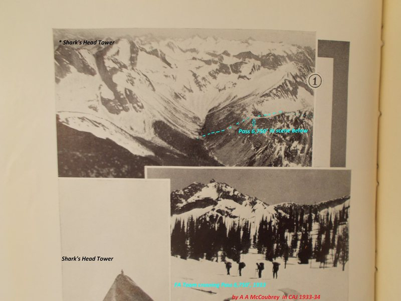 Upper Pinnacle Creek and the McCoubrey expedition's cross-country route up Campbell Creek and over Pass 6,750<br> <br> Canadian Alpine Journal 1933-34