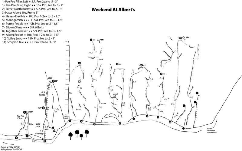 Rock Climbing Photo: Weekend At Alberts topo