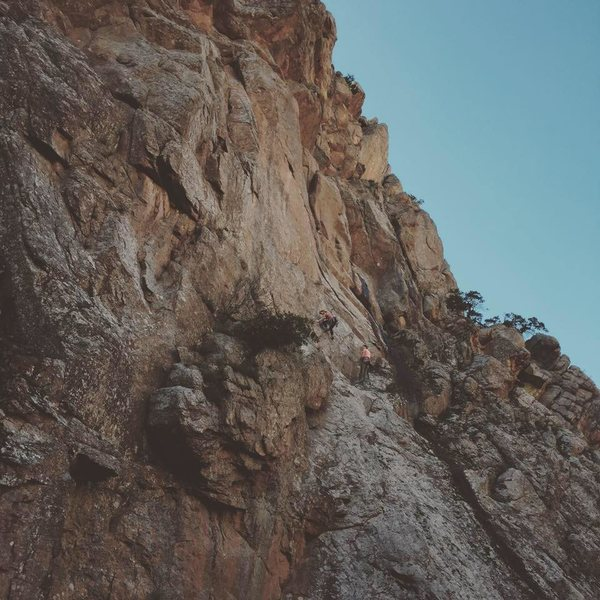 We are heading to the second pitch on League of Doom, The crux is a few feet away:)