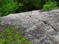 Rock Climbing Photo: Looking down at Sea of Green's P1 Crack