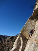 Rock Climbing Photo: My partner is belaying directly below me. The pict...