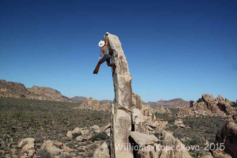 Rock Climbing Photo: Aguille De Joshua Tree...ride em' cowboy style for...
