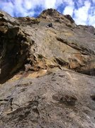 Rock Climbing Photo: Todd Worsfold on the first pitch of the FA of Prob...