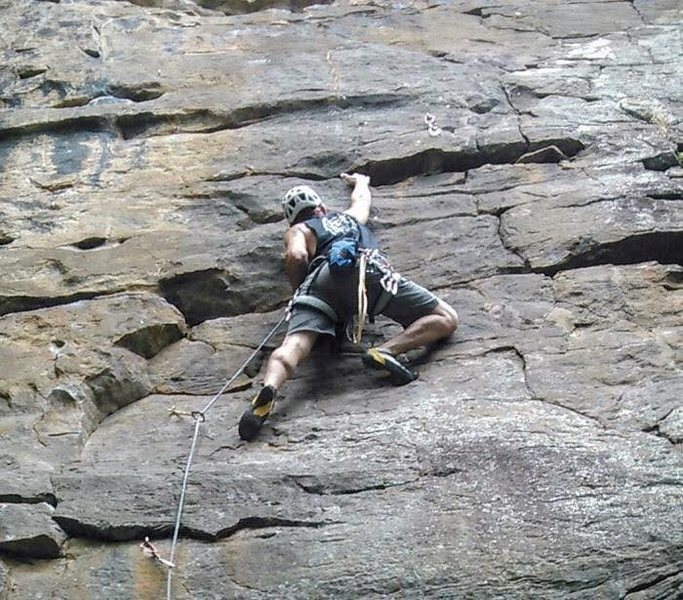 Hudson Hangover 5.10a Hudson Mountain Cowell, Arkansas Traverse right at 3 bolt for the 10a go strait up for Deer Camp 5.10c.  use Deer Camp to set up top rope for Hudson Crack