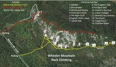 Rock Climbing Photo: Map of Wheeler Mountain including climber's trails...