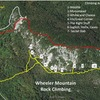 Map of Wheeler Mountain including climber's trails, hiking trails, as well as locations of different crags.