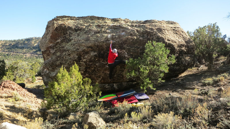 Rock Climbing Photo: Reaching the left hand edge before the slab sequen...
