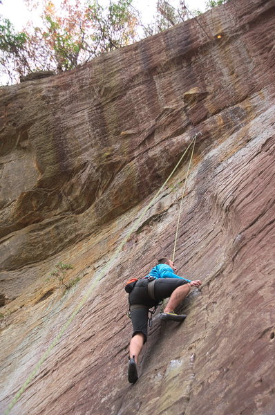 Rock Climbing Photo: Alternate view of A1A from below. Brandon cleaning...