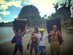 bouldering with the crew in Samar, Philippines