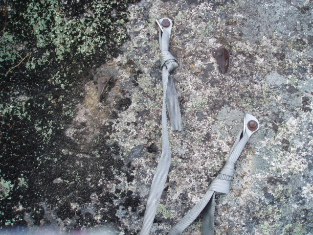 "Rock Climbing Photo: ""4 bolt anchor"", top of P2 of the Bolt-N..."