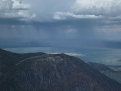Rock Climbing Photo: Pouring over Mono Lake and the Pillar.  Took this ...