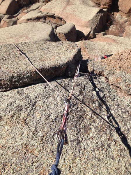 Rock Climbing Photo: The anchor area.  Nice block to sling.