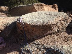 Rock Climbing Photo: The anchor block for both routes.