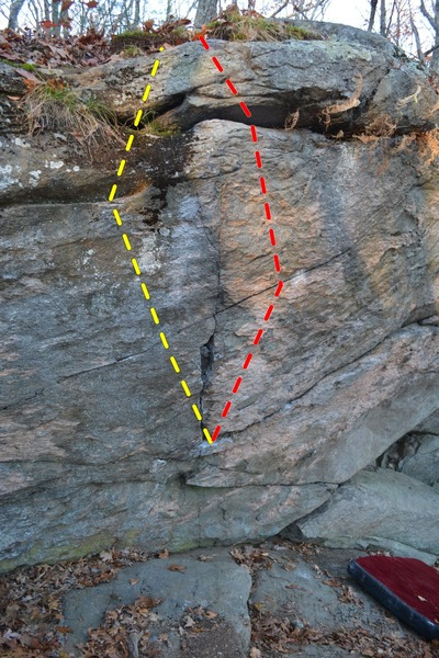 Rock Climbing Photo: Yellow: The Squib (V5). Red: Ego Feeder (V7).