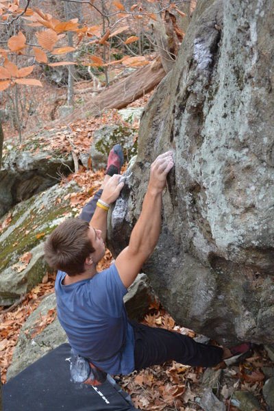 Rock Climbing Photo: S warming up on the S&M boulder.