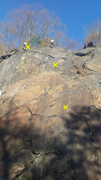 Rock Climbing Photo: go left at second bolt to clever retort's anchors