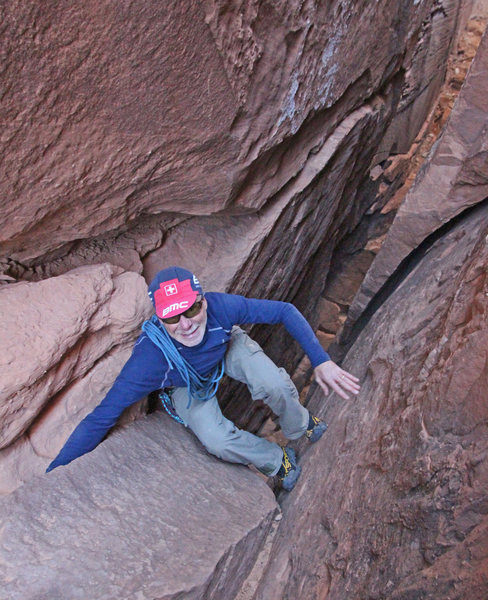 Jonathan Kriegel surmounting the crux, not too far from the end.