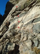 Rock Climbing Photo: The start of the route and the first four bolts.