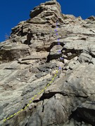 Rock Climbing Photo: The route with bolts marked....