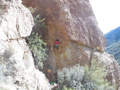 """Rock Climbing Photo: A climber working the moves low on """"Imaginari..."""