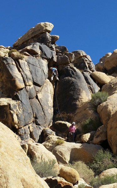 Rock Climbing Photo: George Wu on the first lead of Yellow Submarine. W...
