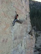 Rock Climbing Photo: Getting through the first crux on the FA