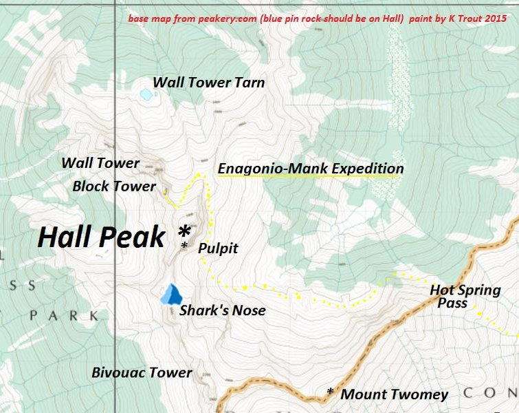 Dewar Creek to Block Tower<br> Mid-Level Traverse <br> (estimate in yellow)