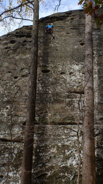 Rock Climbing Photo: Sam nearing the top
