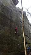 Rock Climbing Photo: Dobbe heading up Wild at Heart