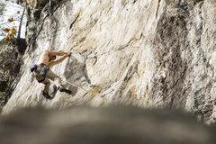 Rock Climbing Photo: Ryan Webster traversing through the crux of Anacon...