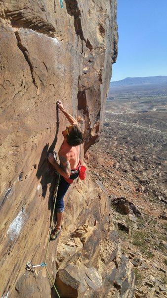 Rock Climbing Photo: Crux through the crimps, then bust up big (easier)...