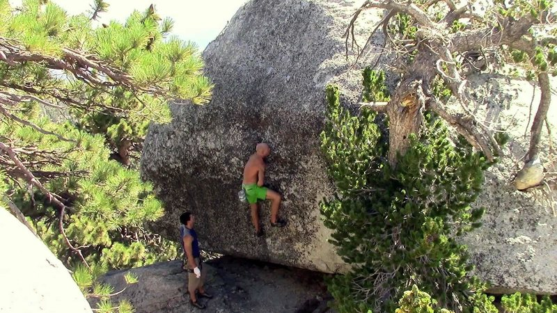 Rock Climbing Photo: Contender for most obscure boulder problem ever.