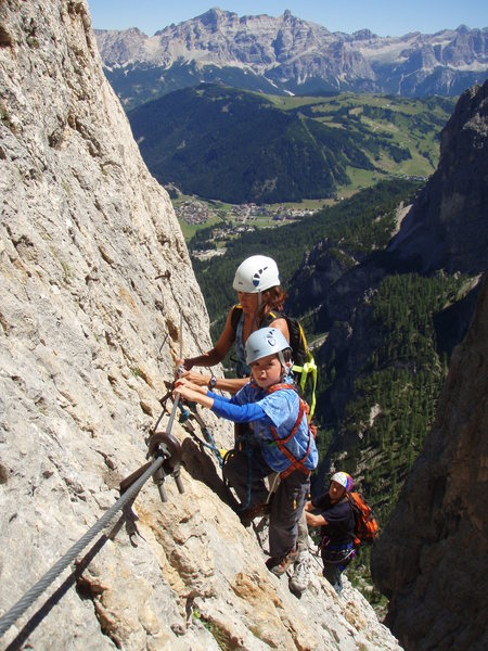 Stunning scenery with Corvara in the distance, great movement for kids.