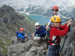 Rock Climbing Photo: Our group. Lago Fedaia and Marmolada in the backgr...