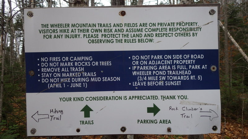 Sign at the Climber's parking area