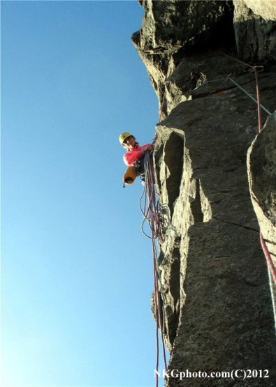 Isa at the belay on top of P2